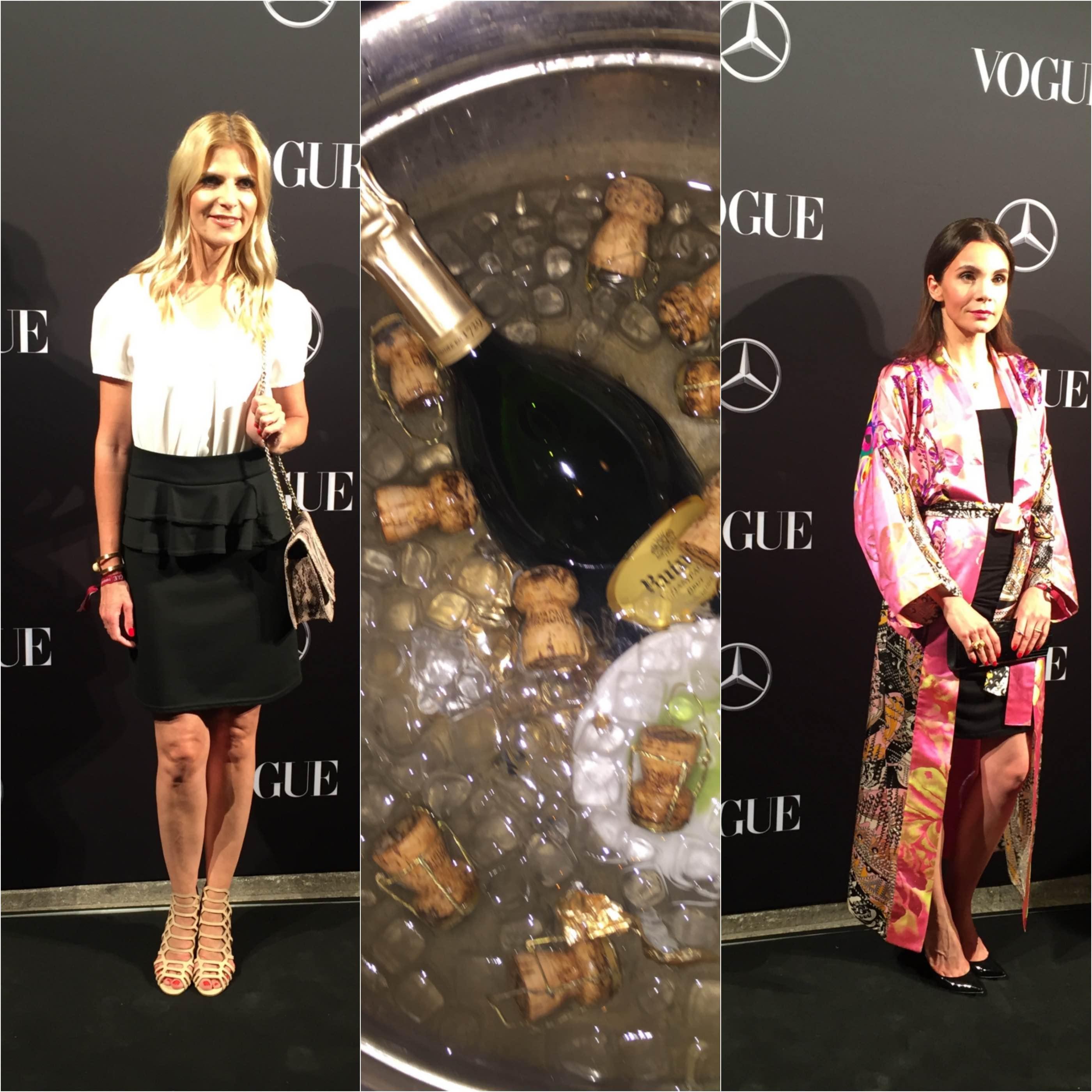 So ist das Fashion Week Leben: Champus, Nadine Warmuth, Tanja Bülter und ich mittendrin