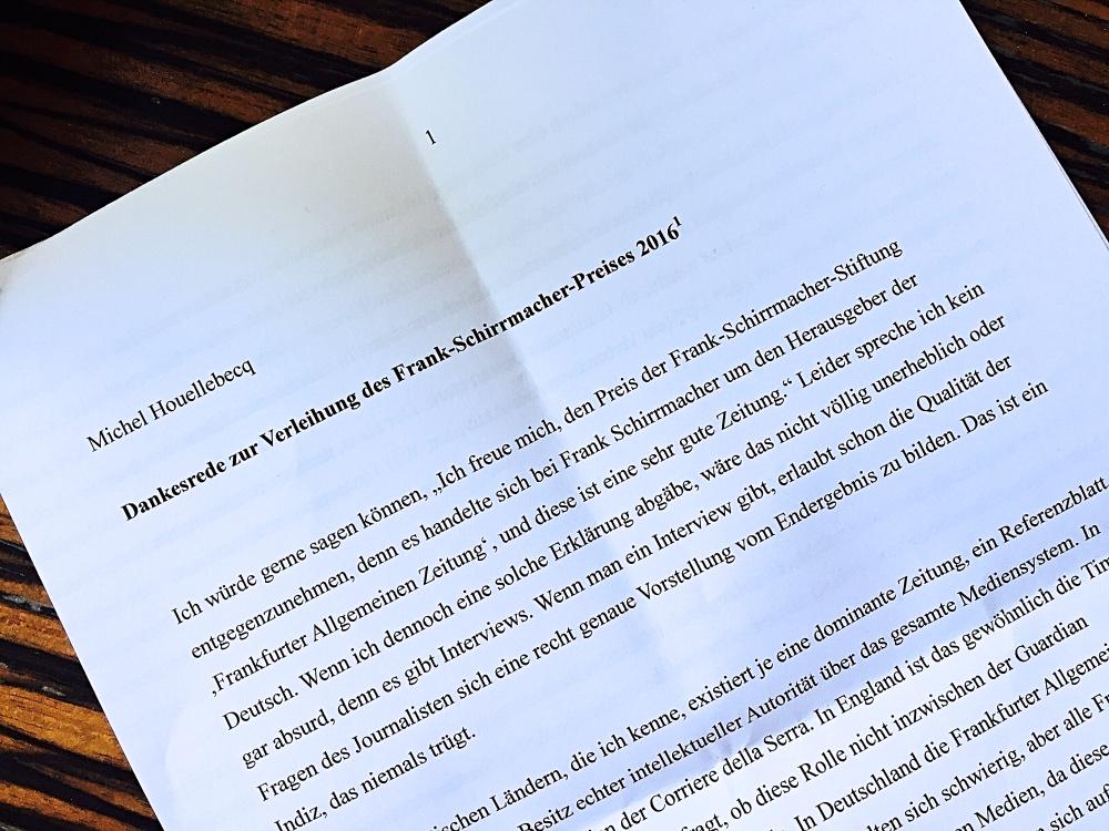 Auszug der 11 seitigen übersetzten Rede von Michel Houellebecq