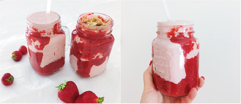 cheesecake shake mit erdbeeren perfekt f r den sommer fourhang auf. Black Bedroom Furniture Sets. Home Design Ideas