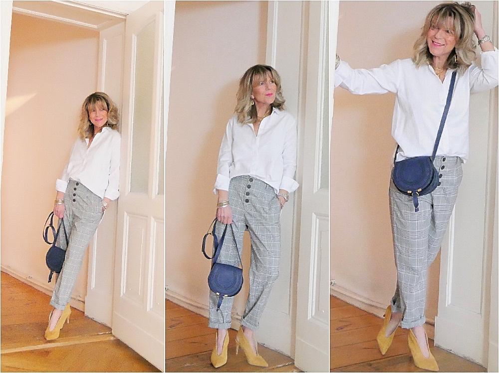 Glencheck-Hose für Damen Stylingtipp mit weißer Bluse